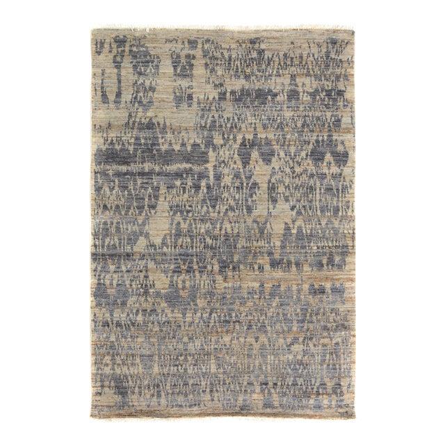 Kafkaz Peshawar Crysta Gray & Blue Wool Rug - 4'1 X 6'3 For Sale
