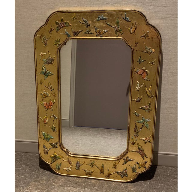Beautiful 1970s Butterfly Mirror. Bohemian style. Found condition. Natural wear and tear as noted in the photographs.