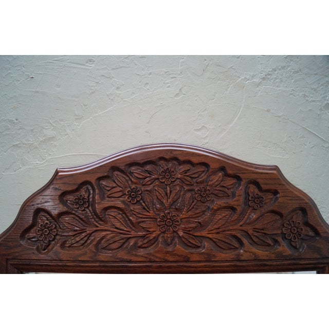 Solid Oak Frame French Country Style Wall Mirror For Sale - Image 5 of 10