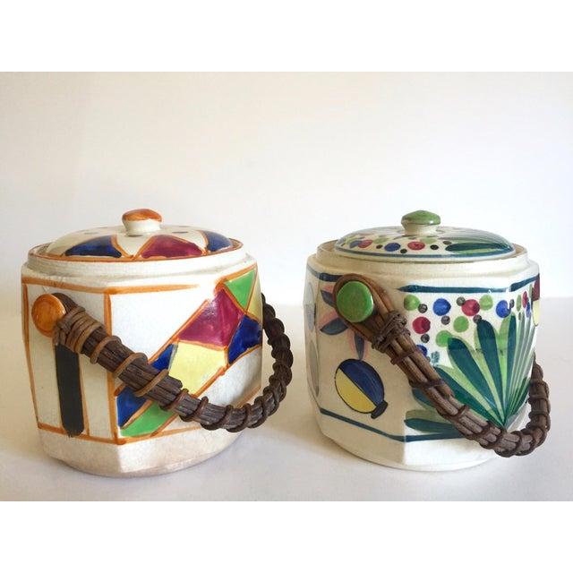 Art Deco Rare Vintage 1930's Art Deco Japan Hand Painted Porcelain Handled Ceramic Biscuit Barrel Jars - Set of 2 For Sale - Image 3 of 13