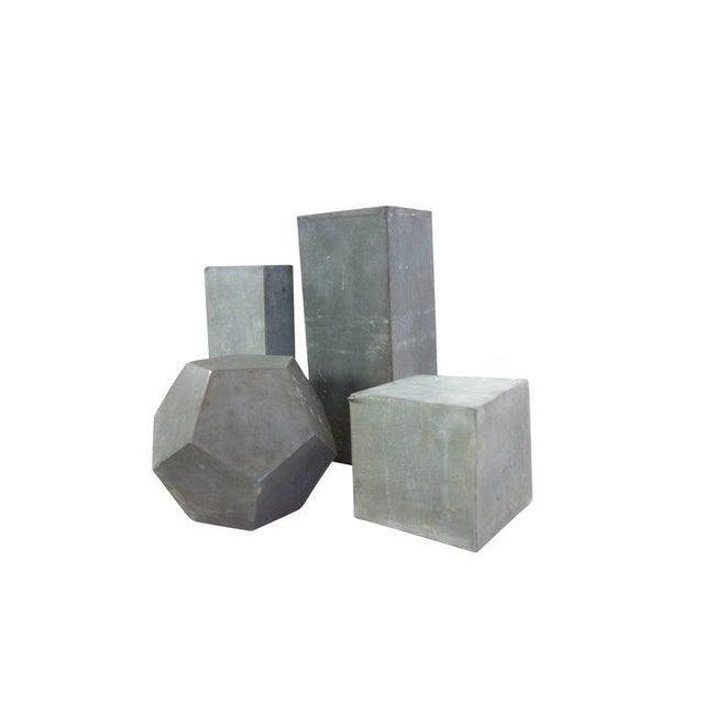 Mid-Century Modern 1920s Zinc Geometric Forms - Set of Four For Sale - Image 3 of 10