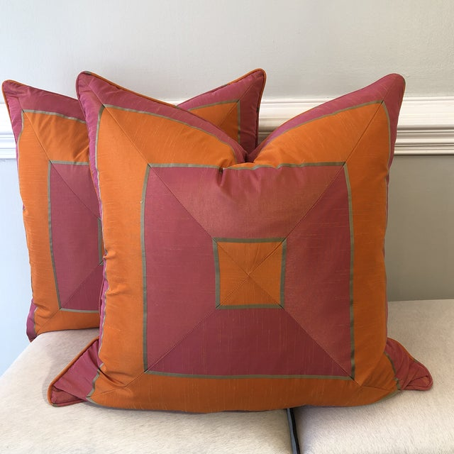 """Bright Pink and Tangerine Silk Mitered Stripe 22"""" Pillows-A Pair For Sale In Greensboro - Image 6 of 6"""
