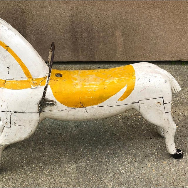 Off-white Hand-Painted Carved Wood Carousel Horse For Sale - Image 8 of 11
