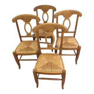 Boho Chic Crate and Barrel Rush Seated Dining Chairs - Set of 4 For Sale
