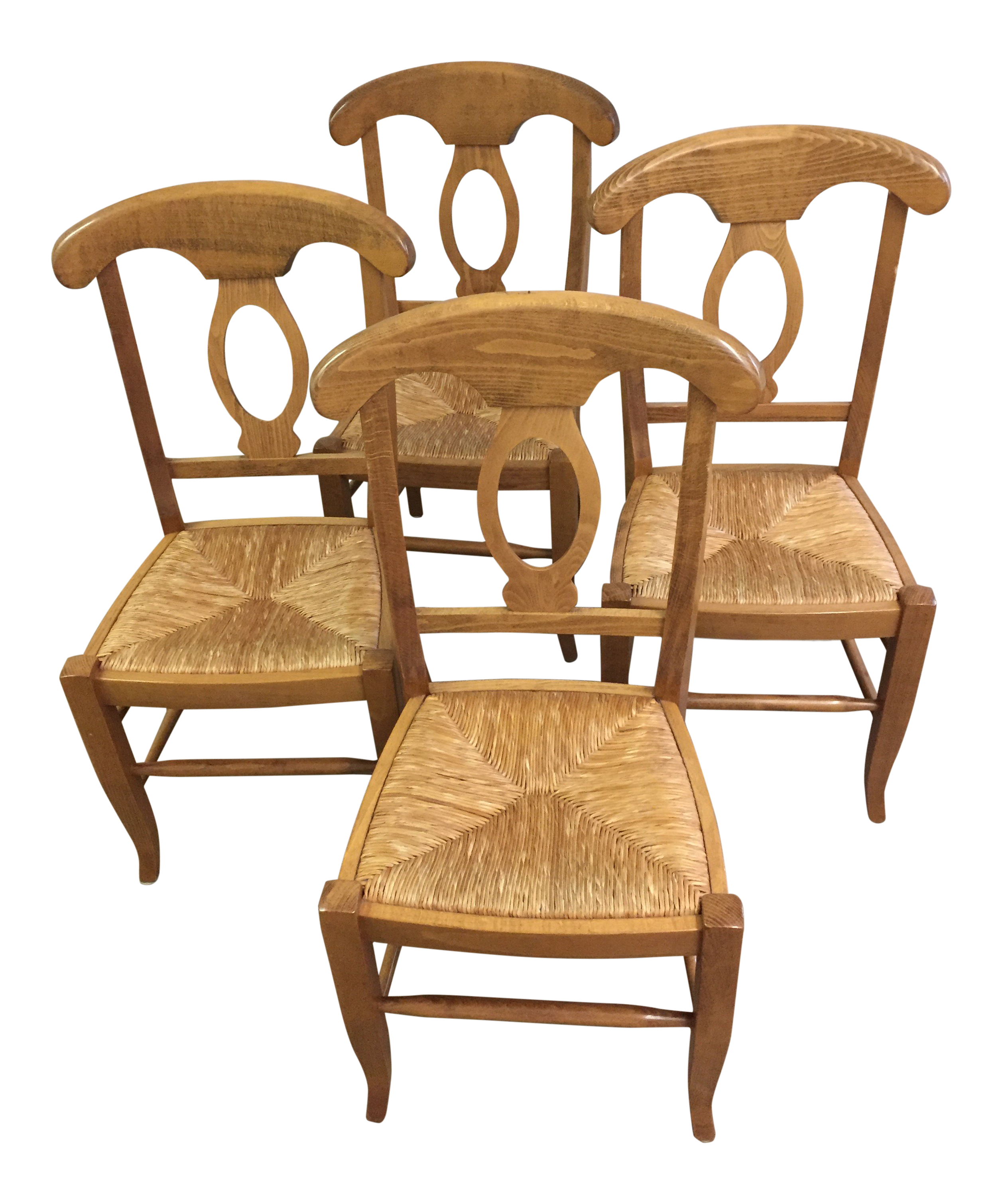 Boho Chic Crate And Barrel Rush Seated Dining Chairs   Set Of 4