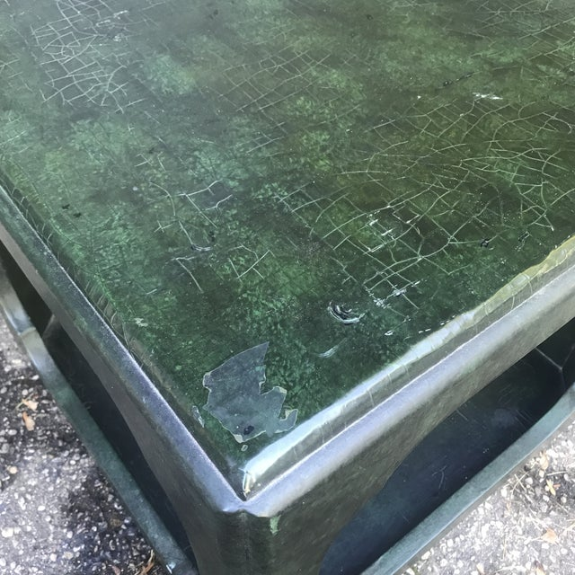 Baker Furniture Company Chinoiserie Green Painted Cube Accent Table by Baker Furniture For Sale - Image 4 of 7
