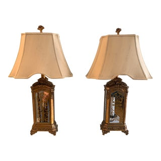 Hand Painted Mirrored Lamps - a Pair For Sale