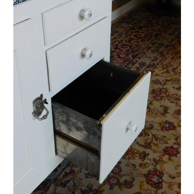 Antique Sellers Restored Painted White Hoosier Kitchen Cabinet C1890 For Sale - Image 11 of 13