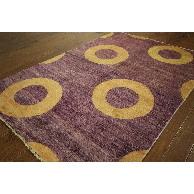 "Modern Purple Gabbeh Area Rug - 5'7"" x 8'2"" - Image 4 of 10"