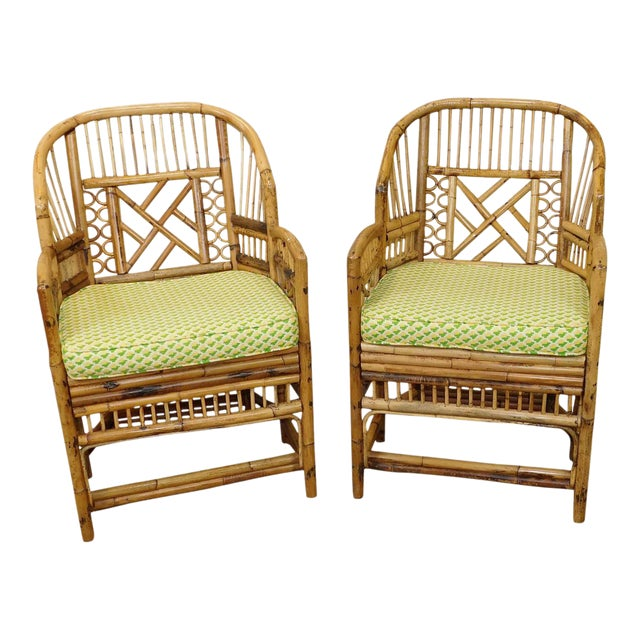 Brighton Style Chippendale Hollywood Regency Bamboo Armchairs- A Pair - Image 1 of 10