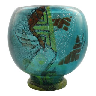 Large Blue Muller Freres Luneville French Art Deco Intercalaire Art Glass Vase For Sale