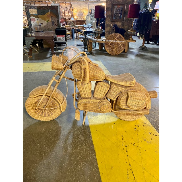 1970s Handmade Life-Size Wicker Motorcycle For Sale - Image 10 of 10