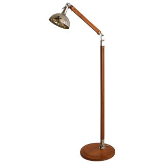 Postmodern Wood and Nickel Articulated Floor Lamp For Sale
