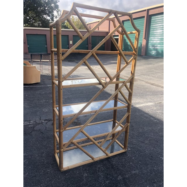 1980s Vintage Tall Bamboo Etagere For Sale - Image 5 of 10