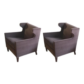 Jacques Quinet Pair of Chic Wing Chairs For Sale