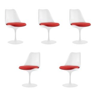 White Tulip Dining Chairs - Set of 5 For Sale