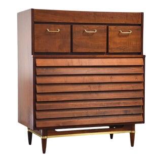 American of Martinsville Walnut Tall Dresser Mid Century Modern For Sale