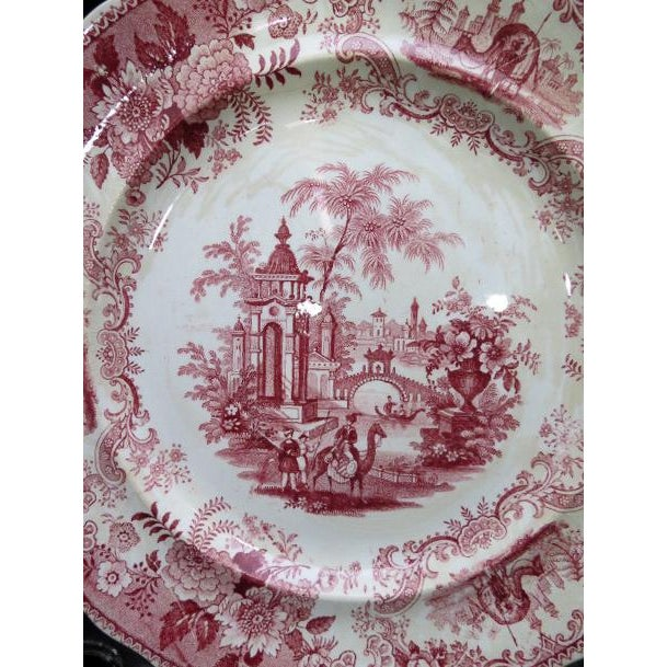 1830s F. Dillon China Red & White Transfer Plate For Sale In Denver - Image 6 of 10