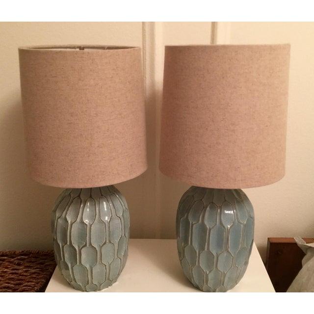 West Elm Handmade Ceramic Lamps - A Pair - Image 2 of 9