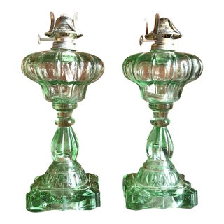 Vintage Green Glass Oil Lamps - A Pair For Sale
