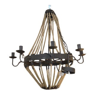 8 Arm Iron and Rope Chandelier For Sale