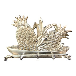 Vintage BrassTropical Pineapple Key Hook For Sale