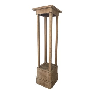 Antique White-Washed Wood Pedestal Stand For Sale