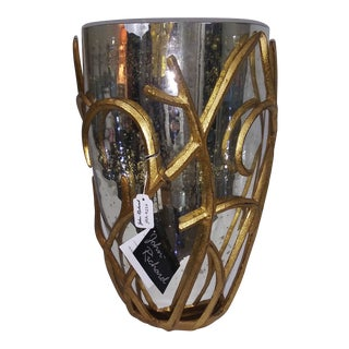 Nwt Large John Richard Mercury Glass Vase With Gold Vine Overlay For Sale
