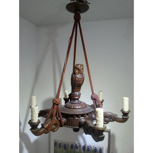 Brown Antique 1920s Black Forest Style Chandelier With Owl For Sale - Image 8 of 9