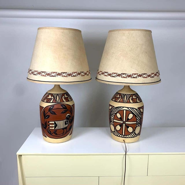 Terra Cotta Aztec /Southwestern Pablo Picasso Style Ceramic Table Lamps - a Pair For Sale - Image 8 of 12