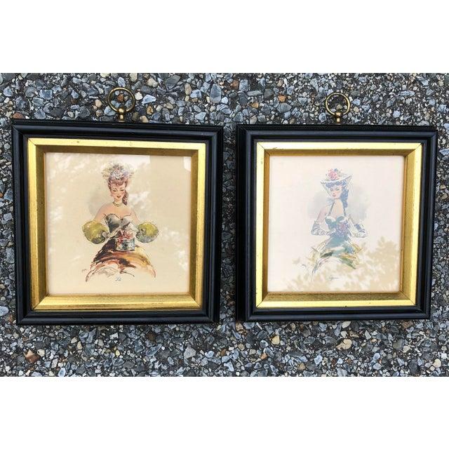 Gold Vintage Hollywood Regency Southern Belles Lady Framed Picture Prints - A Pair For Sale - Image 7 of 8