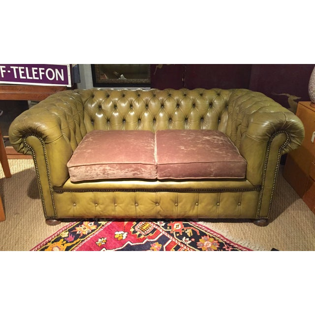 Antique English Leather Chesterfield Loveseat - Image 2 of 8
