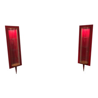 Art Deco Style Italian Crafted by Tagliabue Red Lacquer Electrified Cabinets - a Pair