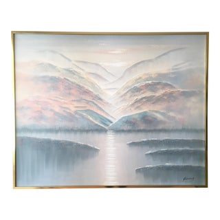 Giant Sunrise Vintage Original Painting, Brass Framed