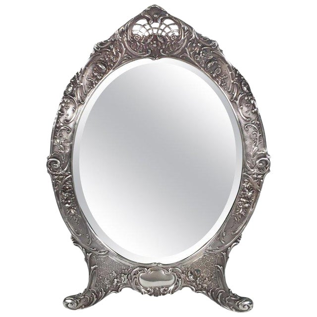 Antique Tiffany Repousse Sterling Silver Standing Vanity Mirror For Sale