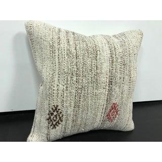 Vintage Antique Turkish White Square Kilim Pillow Preview