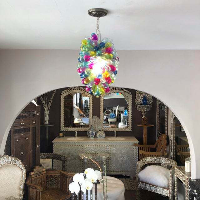 Teal Recycled Hand Blown Glass Gemstones Color Chandelier For Sale - Image 8 of 12