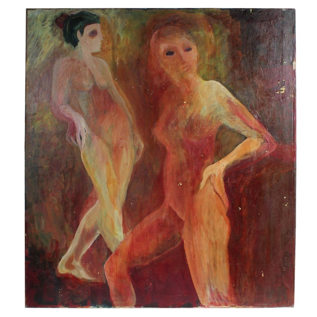 Expressionism Modernist Nude Figures, Oil on Canvas, Circa 1977 For Sale - Image 3 of 3