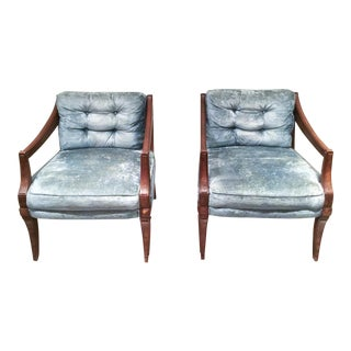 Weiman Mid Century Modern Velvet Chairs - a Pair