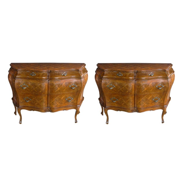 A Shapely and Large Pair of Italian Rococo Style Bombe-Form Chests of Drawers With Cross-Hatched Marquetry For Sale
