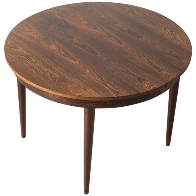 Round Hans Olsen Rosewood Dining Table with Extension Leaf - Image 9 of 9