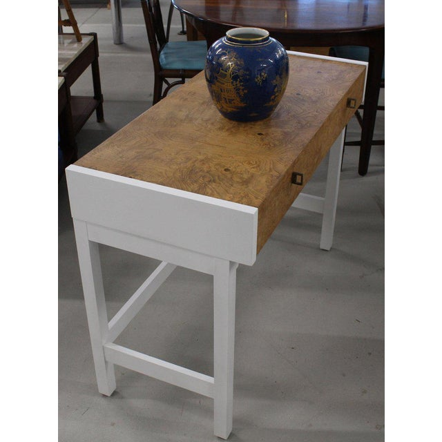 1970s White Lacquer Burl Wood Top Petit Desk Console Hall Table For Sale - Image 5 of 7