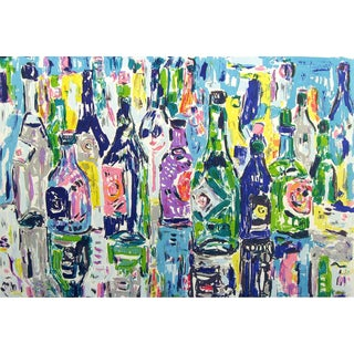 "Impressionist Amos Yaskil ""Bottles"" Signed Numbered Artwork Lithograph by Israeli Artist For Sale"