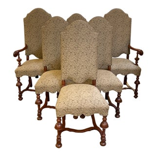 Late 20th Century Jacobean Upholstered Chairs - Set of 6 For Sale