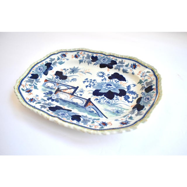 Asian Mid Antique 19th Century Blue & White Transferware Ironstone Chinoiserie Platter For Sale - Image 3 of 9