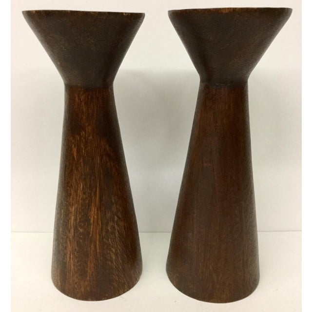 1950s Boho Chic Solid Wood Candle Holders - a Pair For Sale - Image 13 of 13