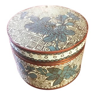 Antique Green and Teal Floral Cloisonne Box For Sale