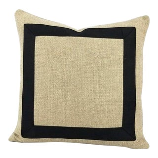 "Pindler Cheminer in Natural With Black Square Ribbon Embellished Pillow Cover - 20"" X 20"" For Sale"