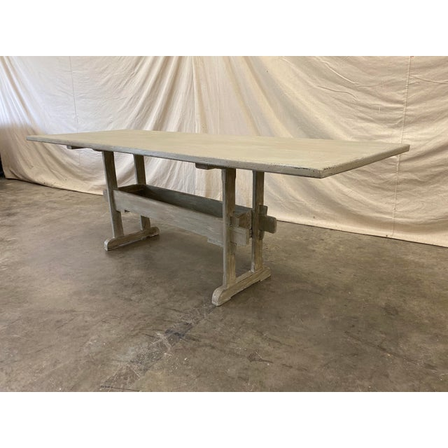 Gray Swedish Painted Trestle Dining Table For Sale - Image 8 of 10