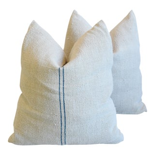 "Aqua Blue Striped French Farmhouse Grain Sack Feather/Down Pillows 22"" Square - Pair For Sale"